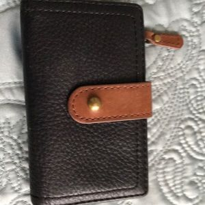 Fossil wallet card case unisex black leather